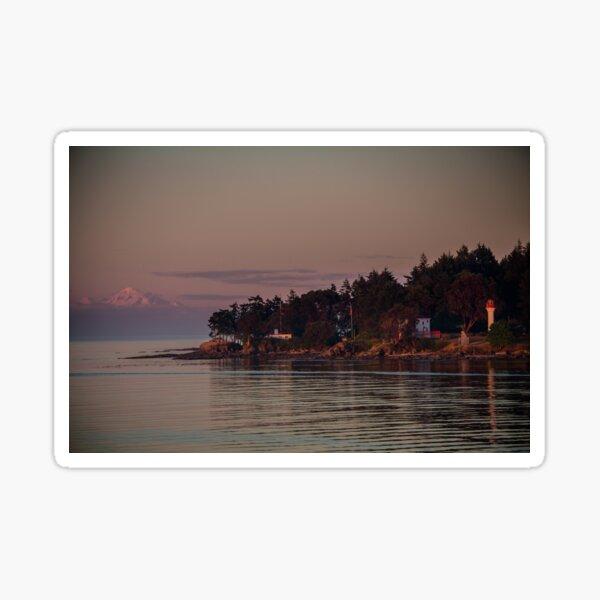 Mayne island and Mt.Baker at twilight Sticker