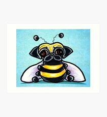 Pug as a Bumble Bee Blue Art Print