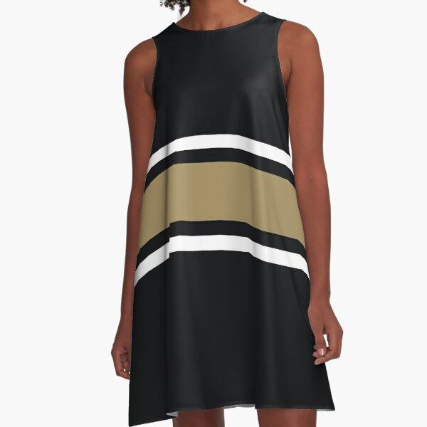 Black, White, & Gold Power Stripe A-Line Dress