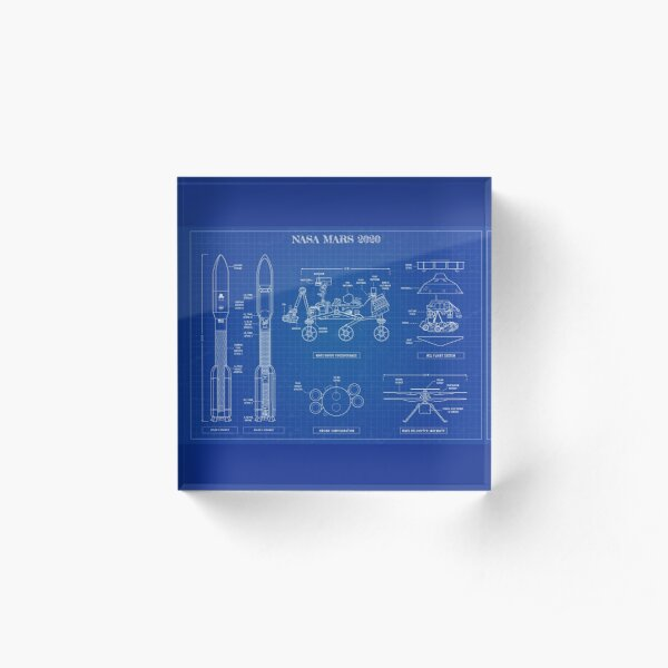 NASA Mars 2020  (Blueprint-English) Acrylic Block