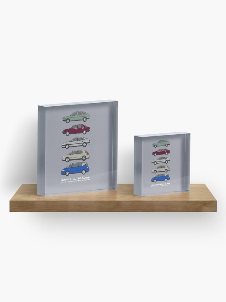 "Alternate view of Renault 30, 25, Safrane, Vel Satis & Avantime ""Haut de Gamme"" classic car collection artwork. Acrylic Block"