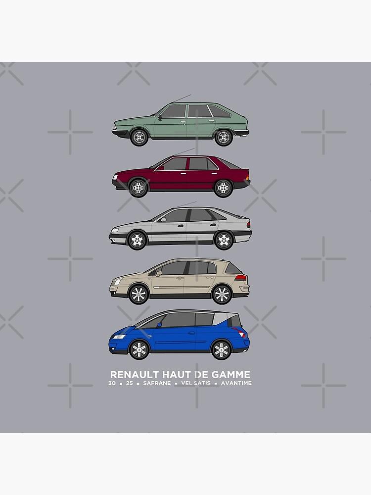 """Renault 30, 25, Safrane, Vel Satis & Avantime """"Haut de Gamme"""" classic car collection artwork. by RJWautographics"""
