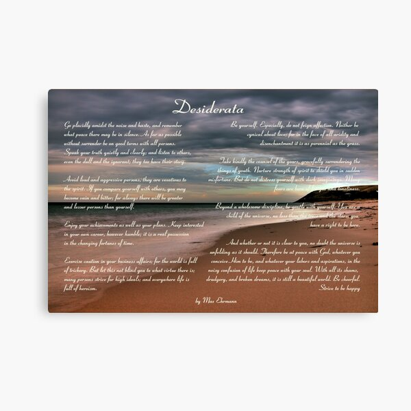 Desiderata Inspirational Poem on Seashore Canvas Print