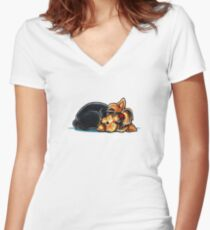 Yorkie Being Adorable is Exhausting (dark apparel) Women's Fitted V-Neck T-Shirt