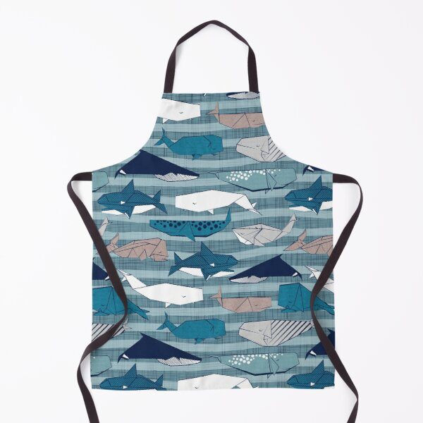 Origami Sea // linen texture and nautical stripes background teal white and taupe whales Apron