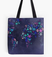 World Map Colourful Leaves Blueprint  Tote Bag