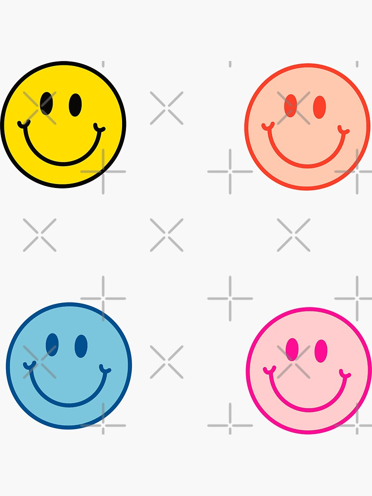 Smiley Face Neon 4-Pack Stickers 90s by andiegras