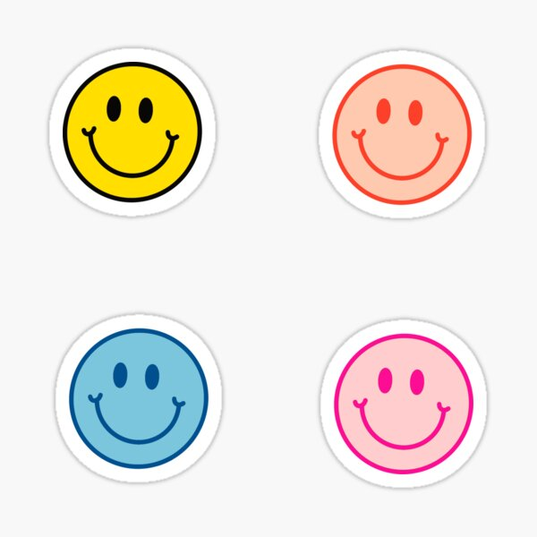 Smiley Face Neon 4-Pack Stickers 90s Sticker