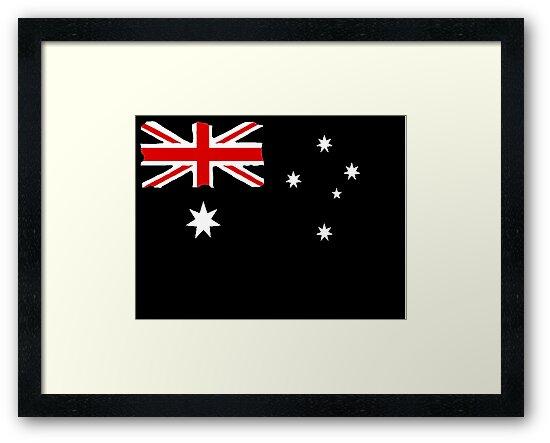 Australin Flag CARD/POSTER Black  by Radwulf