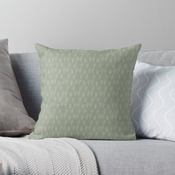 Little Branches in Sage and White Throw Pillow
