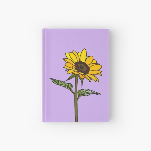 Aesthetic Sunflower on Lilac Hardcover Journal