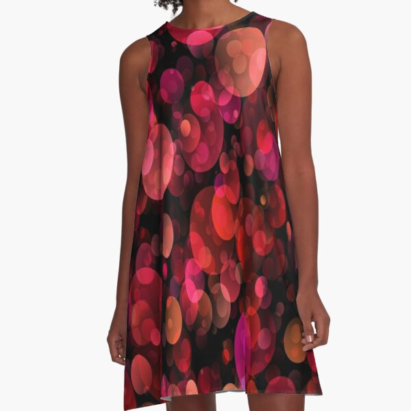 70s Disco Inspired Items |  Abstract Red Sequin Texture    A-Line Dress