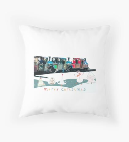 Happy Christmas for train lovers  Throw Pillow