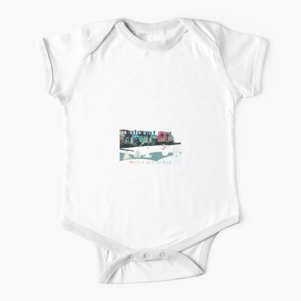 Happy Christmas for train lovers  Short Sleeve Baby One-Piece