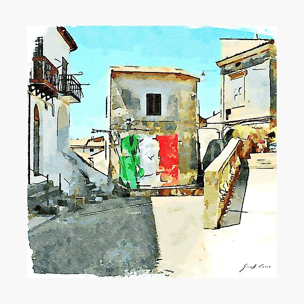 Tortora glimpse with Italian flag painted on the wall of building  Photographic Print