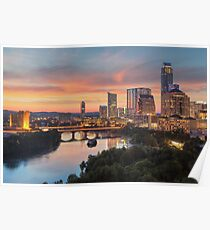The Austin Skyline on a Summer Evening Poster