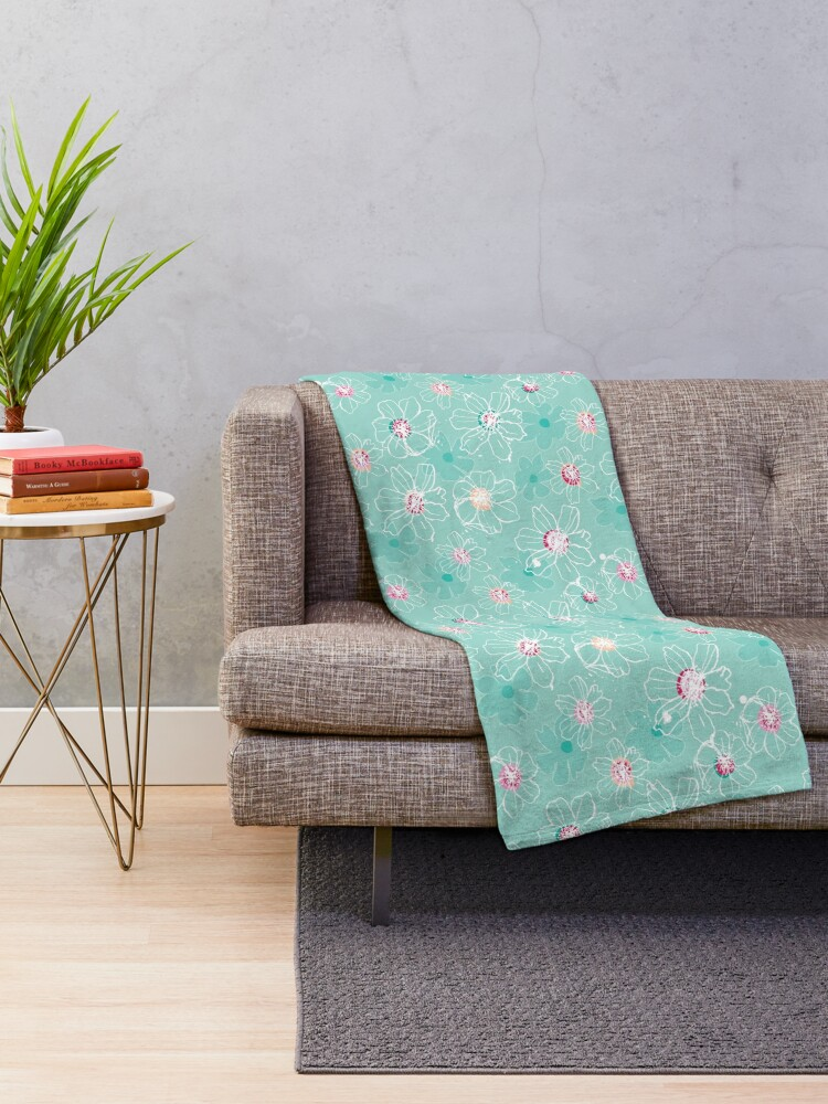 Alternate view of Hand drawn White Cosmos flowers Throw Blanket