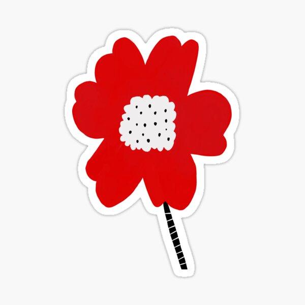 Flor roja red flower minimalistic digital art Sticker