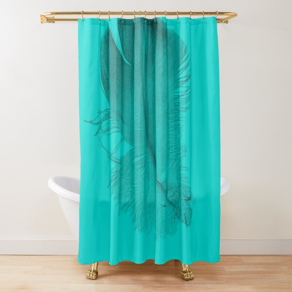 baby feather with aruba green background  Shower Curtain