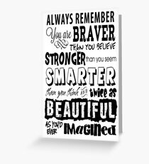 Positive Affirmation Typography Design - You are Brave, Strong, Smart & Beautiful Greeting Card