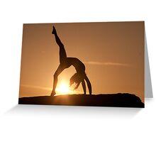 Yoga Poses at Sunset 3 Greeting Card