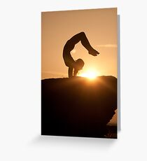 Yoga Poses at Sunset 5 Greeting Card