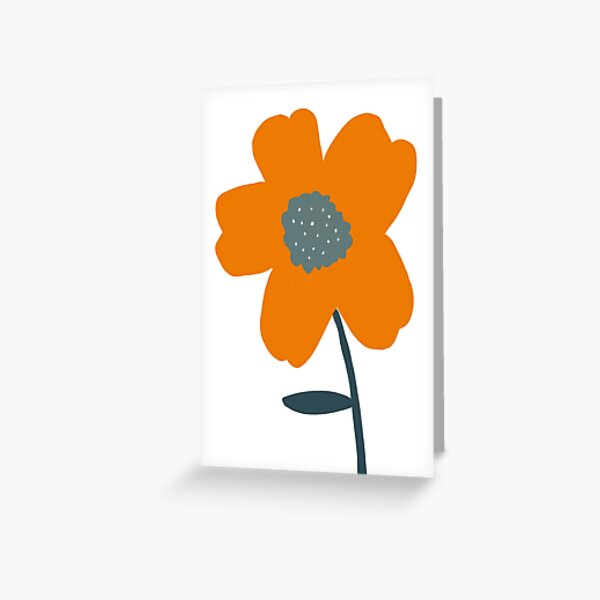 minimalist Orange flower, digital art Greeting Card