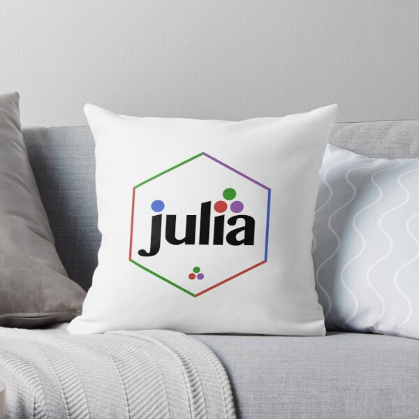 Julia Hex Sticker Multi-Colored Throw Pillow