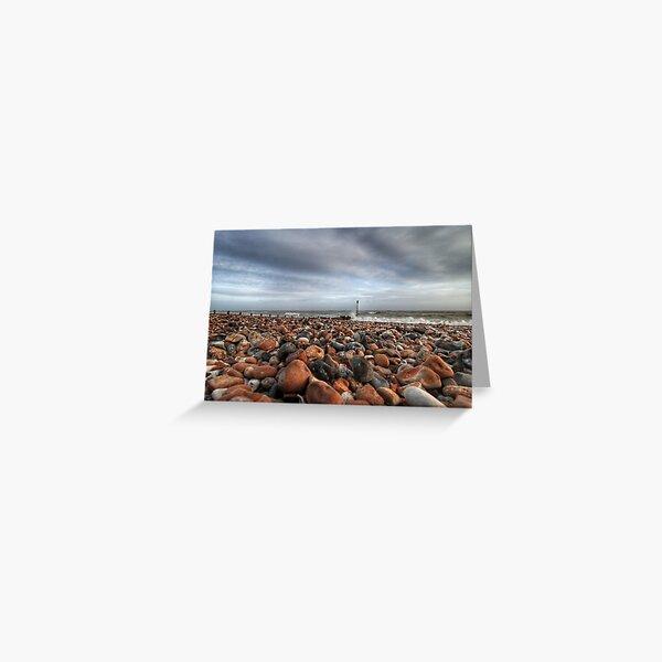 Stoney beach just before sunset Greeting Card