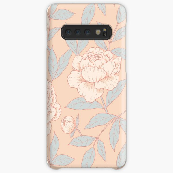 Peonies - pink and baby blue Samsung Galaxy Snap Case