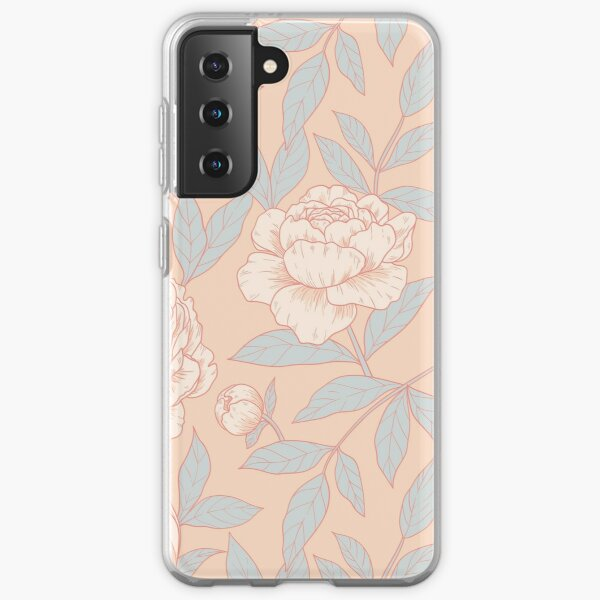 Peonies - pink and baby blue Samsung Galaxy Soft Case