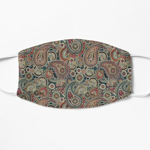 Red and Blue Artisic Indian Pattern Mask
