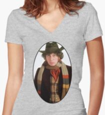 Tom Baker (4th Doctor) Women's Fitted V-Neck T-Shirt