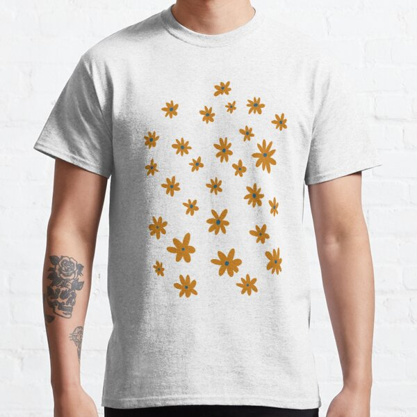 Dark orange and blue whimsy flower pattern Classic T-Shirt