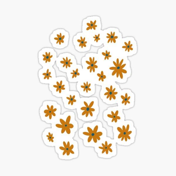 Dark orange and blue whimsy flower pattern Sticker
