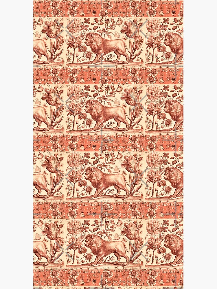 LION,TULIP,ROSE AND BUTTERFLIES ANTIQUE RED PINK FLORAL COLLECTION by BulganLumini