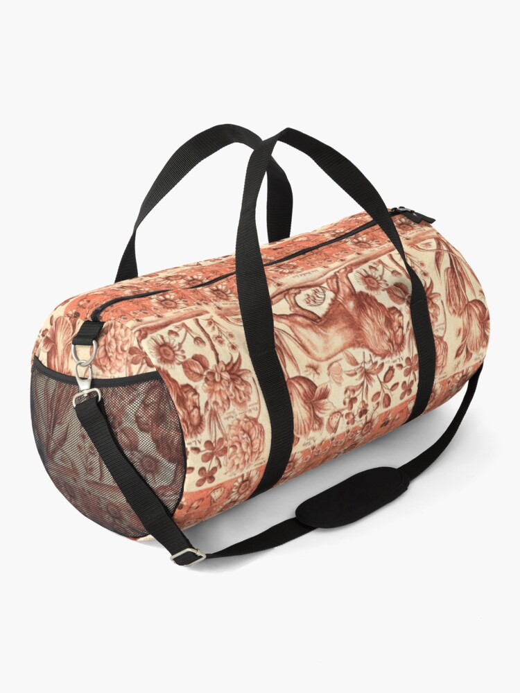 Alternate view of LION,TULIP,ROSE AND BUTTERFLIES ANTIQUE RED PINK FLORAL COLLECTION Duffle Bag