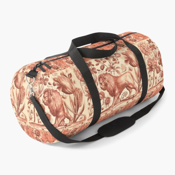 LION,TULIP,ROSE AND BUTTERFLIES ANTIQUE RED PINK FLORAL COLLECTION Duffle Bag