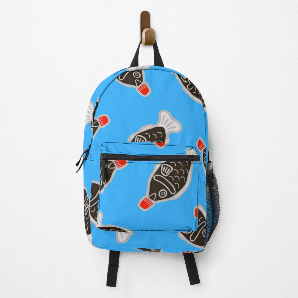 Sushi Soy Fish Pattern in Blue Backpack