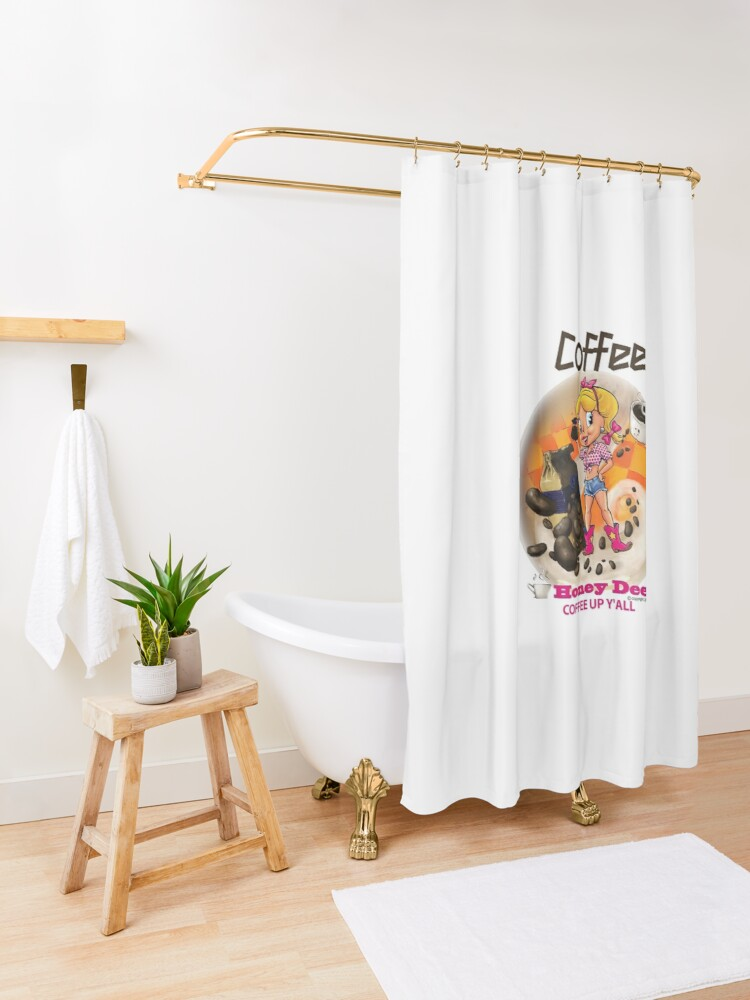 Alternate view of Coffee Up Y'all With Honey Dee Shower Curtain