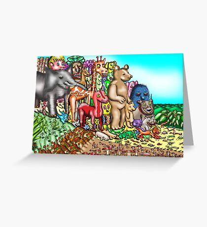 Creatures mount protest against humans Greeting Card