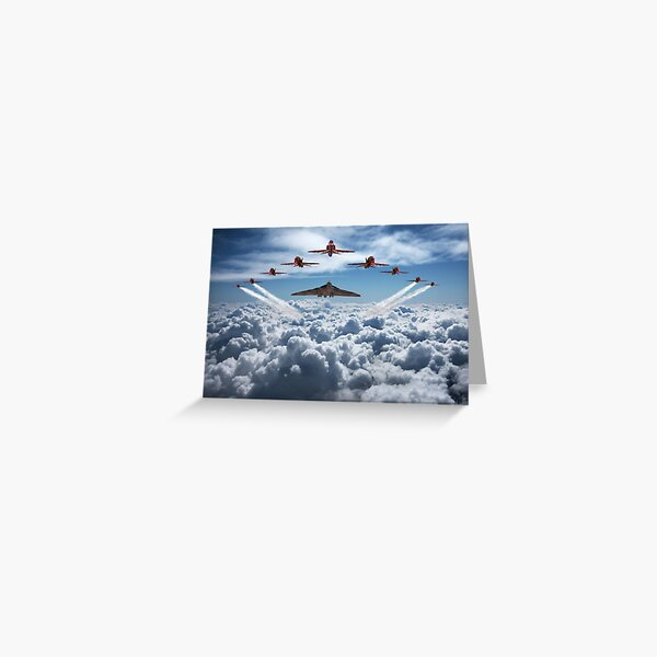 Vulcan and Red Arrows farewell flight Greeting Card