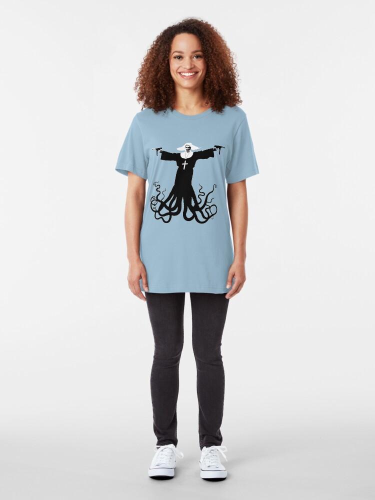 Alternate view of Killer Octo Nun ( aka World Peace) Slim Fit T-Shirt