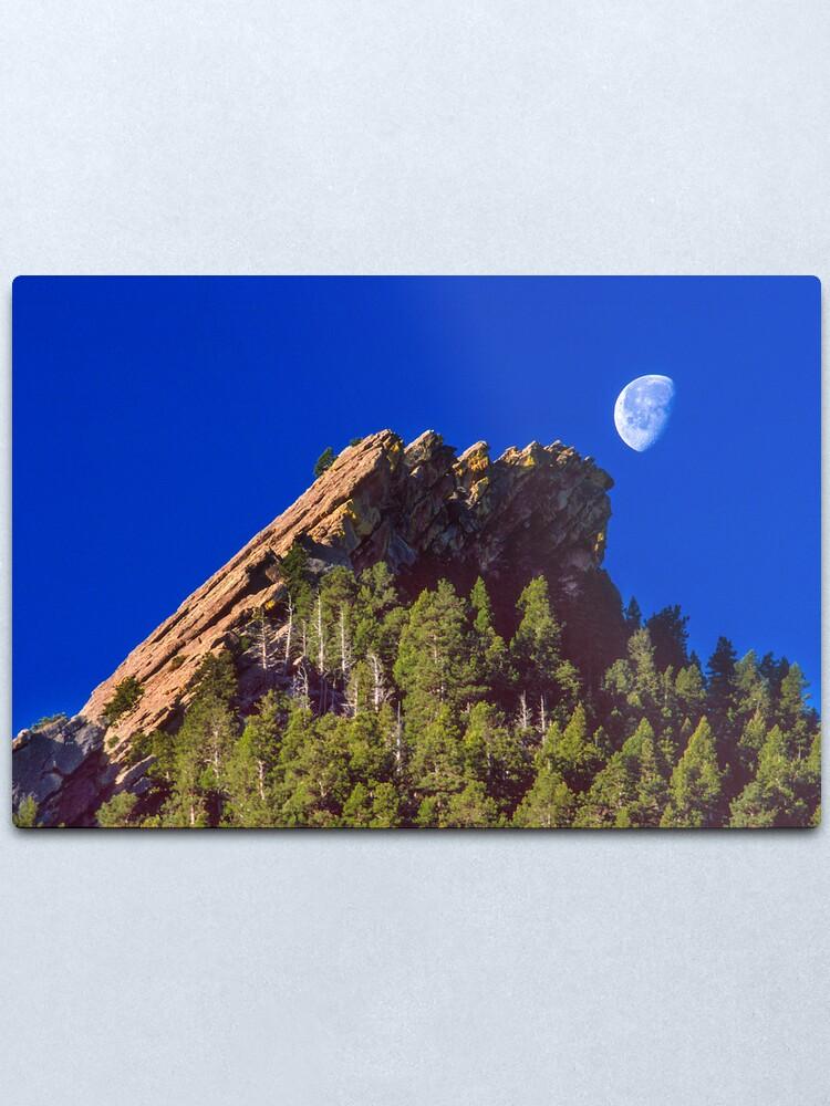 Alternate view of First Flatiron Moonset Metal Print