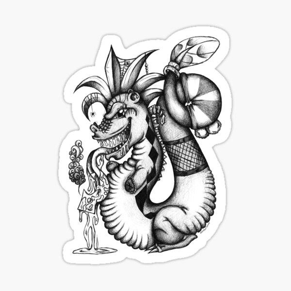 Black and white Freaky Dragon Sticker