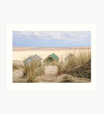 Dunes and huts. Art Print