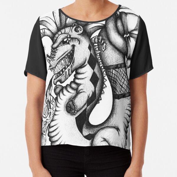 Black and white Freaky Dragon Chiffon Top