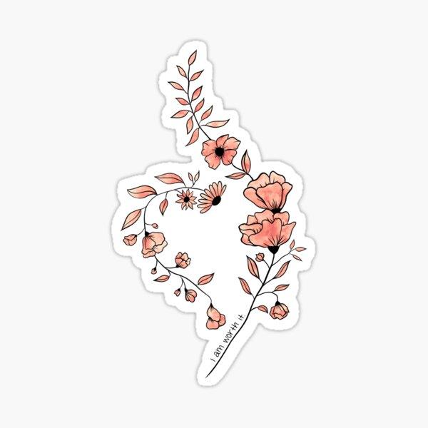 NEDA National Eating Disorder Awareness Symbol in Flowers- Peach Sticker