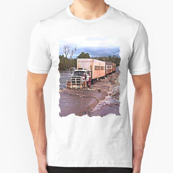 Truck crossing Ord River, West Australia  in Flood Slim Fit T-Shirt