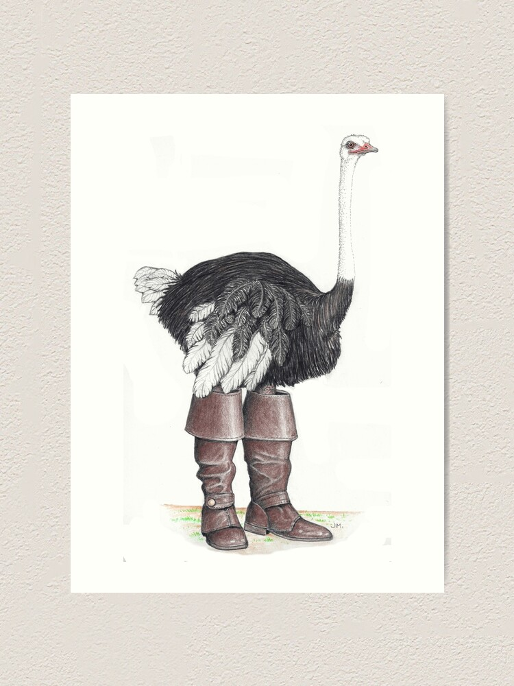 Alternate view of Ostrich in Musketeer boots Art Print